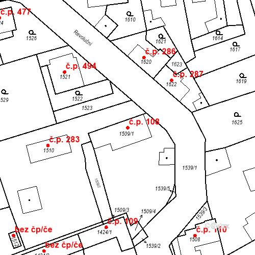Katastrální mapa Stavební objekt Buštěhrad 108, Buštěhrad