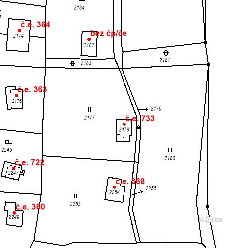 Katastrální mapa Stavební objekt Brná 733, Ústí nad Labem