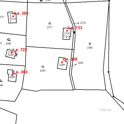 Katastrální mapa Stavební objekt Brná 368, Ústí nad Labem
