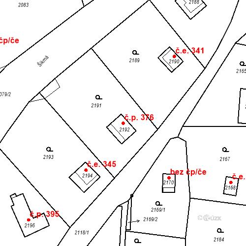 Katastrální mapa Stavební objekt Brná 376, Ústí nad Labem