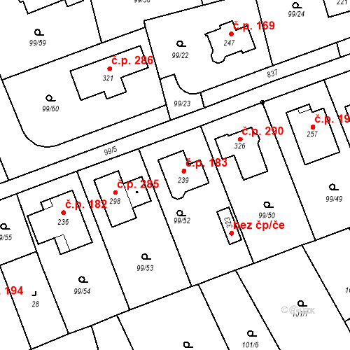 Katastrální mapa Stavební objekt Drahelčice 183, Drahelčice