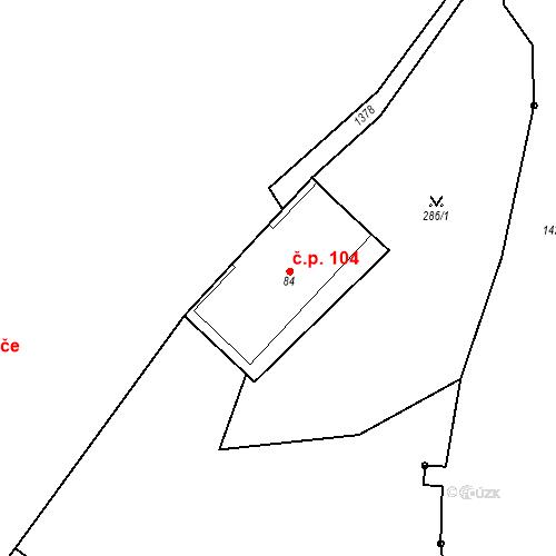 Katastrální mapa Stavební objekt Mšené-lázně 104, Mšené-lázně
