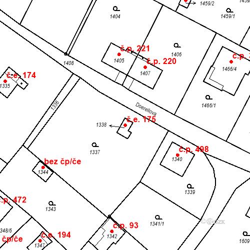 Katastrální mapa Stavební objekt Brná 175, Ústí nad Labem