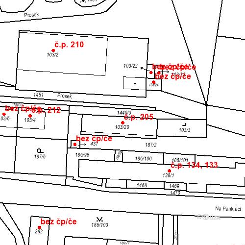 Katastrální mapa Stavební objekt Mšené-lázně 205, Mšené-lázně