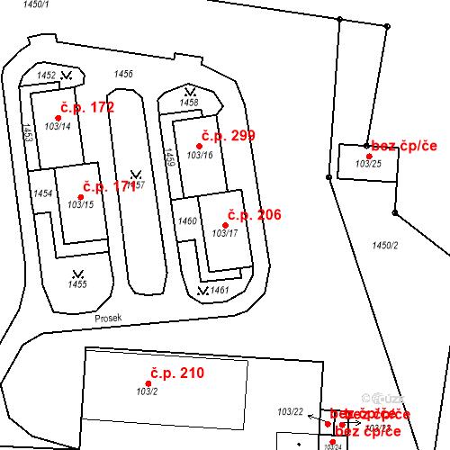 Katastrální mapa Stavební objekt Mšené-lázně 206, Mšené-lázně