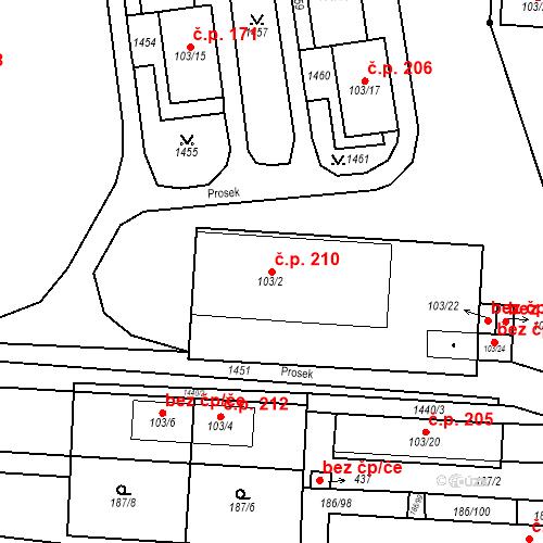 Katastrální mapa Stavební objekt Mšené-lázně 210, Mšené-lázně