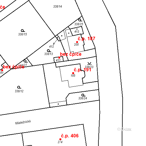 Katastrální mapa Stavební objekt Mšené-lázně 191, Mšené-lázně