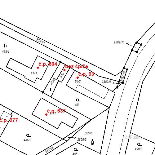 Katastrální mapa Stavební objekt Kamenný Újezd 93, Kamenný Újezd