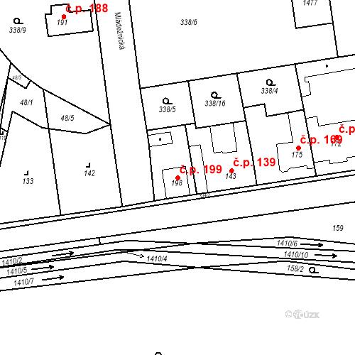 Katastrální mapa Stavební objekt Mšené-lázně 199, Mšené-lázně