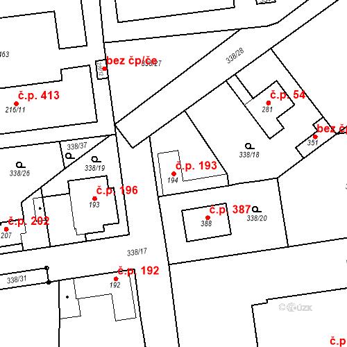 Katastrální mapa Stavební objekt Mšené-lázně 193, Mšené-lázně