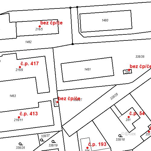 Katastrální mapa Stavební objekt Mšené-lázně 211, Mšené-lázně