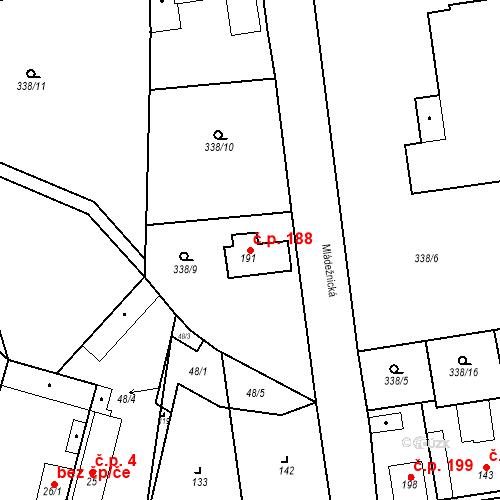 Katastrální mapa Stavební objekt Mšené-lázně 188, Mšené-lázně