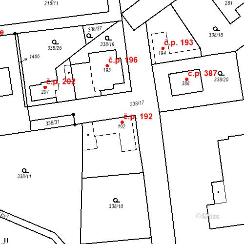 Katastrální mapa Stavební objekt Mšené-lázně 192, Mšené-lázně