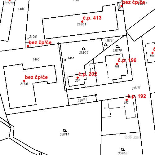 Katastrální mapa Stavební objekt Mšené-lázně 202, Mšené-lázně