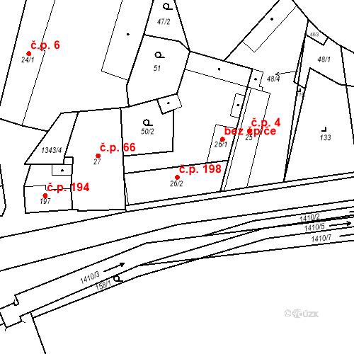Katastrální mapa Stavební objekt Mšené-lázně 198, Mšené-lázně