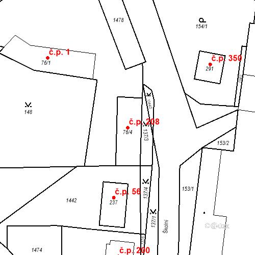 Katastrální mapa Stavební objekt Mšené-lázně 208, Mšené-lázně