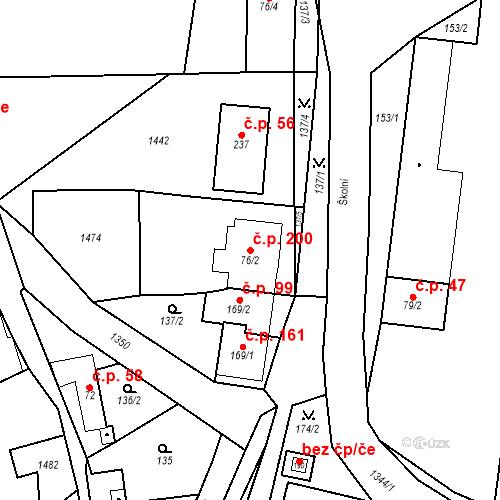 Katastrální mapa Stavební objekt Mšené-lázně 200, Mšené-lázně