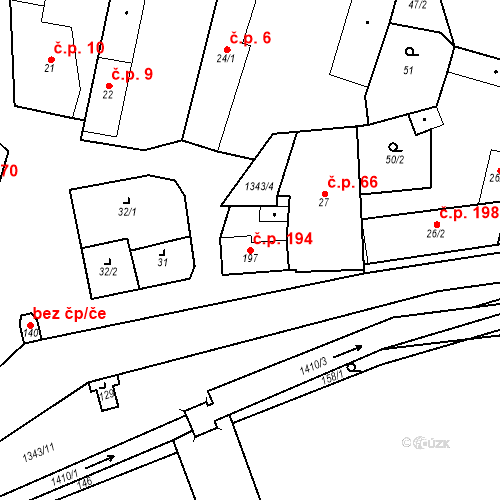 Katastrální mapa Stavební objekt Mšené-lázně 194, Mšené-lázně