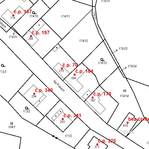 Katastrální mapa Stavební objekt Mšené-lázně 184, Mšené-lázně