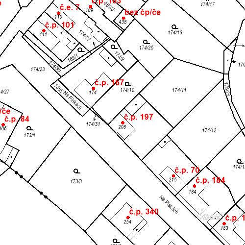 Katastrální mapa Stavební objekt Mšené-lázně 197, Mšené-lázně