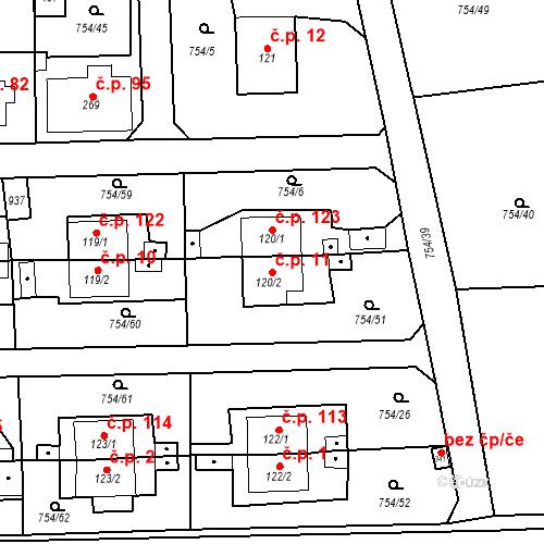Katastrální mapa Stavební objekt Vrapice 11, Kladno