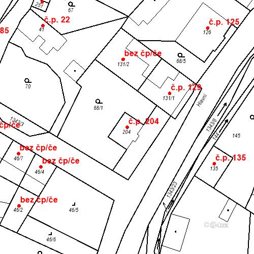 Katastrální mapa Stavební objekt Mšené-lázně 204, Mšené-lázně
