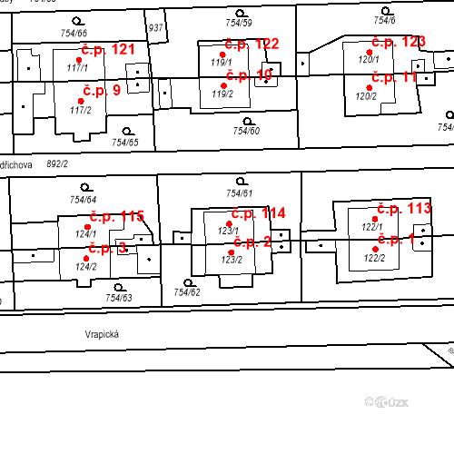 Katastrální mapa Stavební objekt Vrapice 114, Kladno