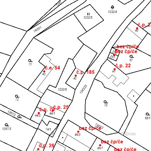 Katastrální mapa Stavební objekt Mšené-lázně 185, Mšené-lázně