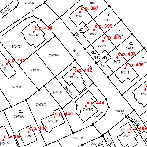 Katastrální mapa Stavební objekt Boršov nad Vltavou 442, Boršov nad Vltavou