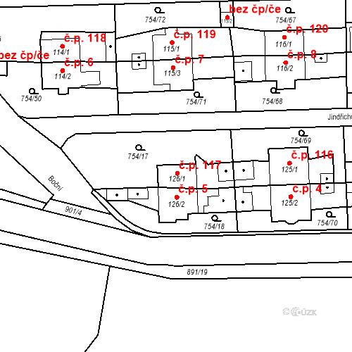 Katastrální mapa Stavební objekt Vrapice 117, Kladno