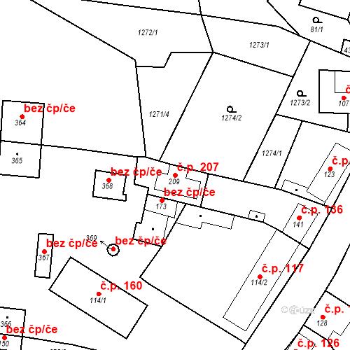 Katastrální mapa Stavební objekt Mšené-lázně 207, Mšené-lázně