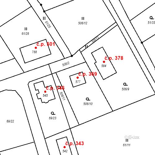 Katastrální mapa Stavební objekt Úhonice 369, Úhonice