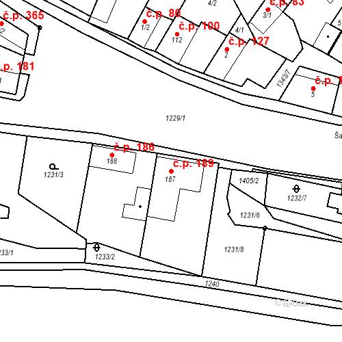 Katastrální mapa Stavební objekt Mšené-lázně 189, Mšené-lázně