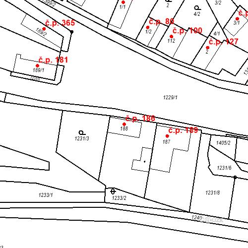 Katastrální mapa Stavební objekt Mšené-lázně 186, Mšené-lázně