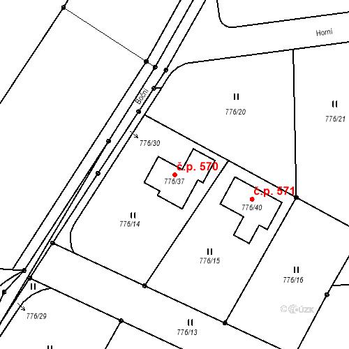 Katastrální mapa Stavební objekt Mokré 570, Litvínovice