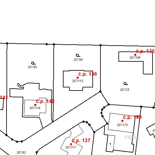 Katastrální mapa Stavební objekt Chuderov 136, Chuderov