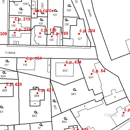 Katastrální mapa Stavební objekt Hřebeč 434, Hřebeč