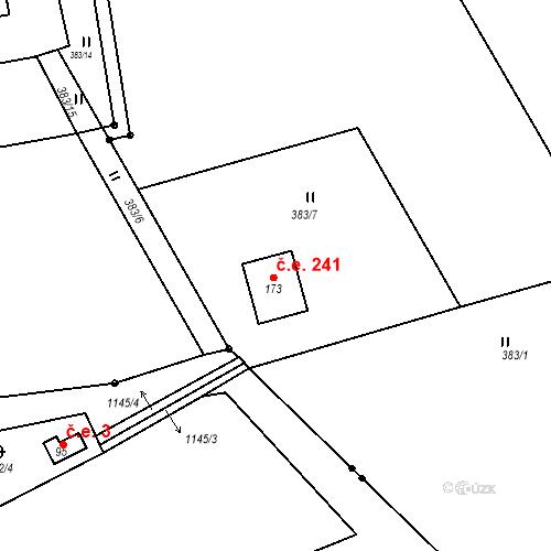 Katastrální mapa Stavební objekt Hojšín 241, Svatý Jan
