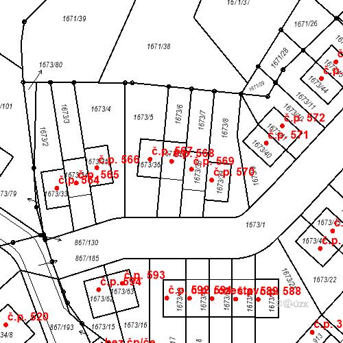 Katastrální mapa Stavební objekt Hřebeč 568, Hřebeč