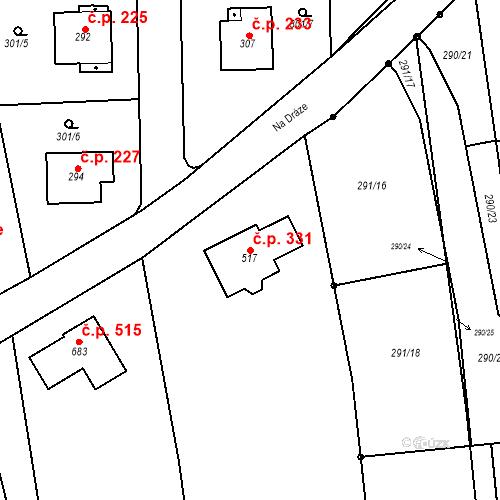 Katastrální mapa Stavební objekt Červený Újezd 331, Červený Újezd