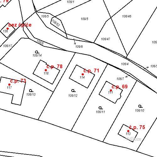 Katastrální mapa Stavební objekt Drhovy 71, Drhovy