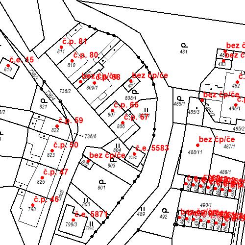Katastrální mapa Stavební objekt Skorotice 67, Ústí nad Labem
