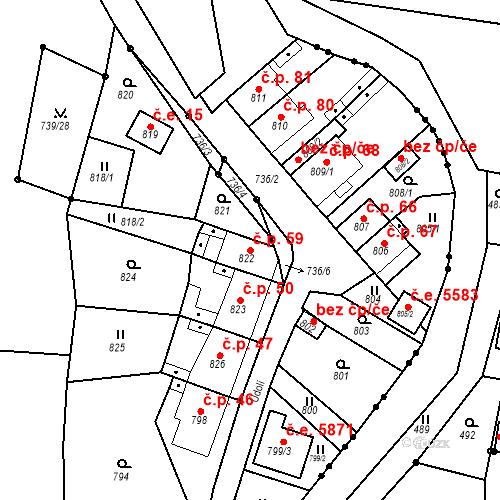 Katastrální mapa Stavební objekt Skorotice 59, Ústí nad Labem