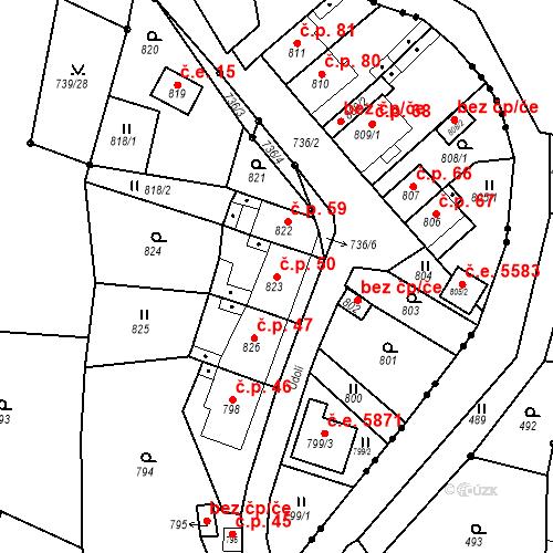 Katastrální mapa Stavební objekt Skorotice 50, Ústí nad Labem