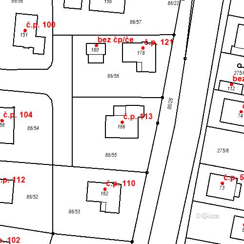 Katastrální mapa Stavební objekt Třebín 113, Dubné