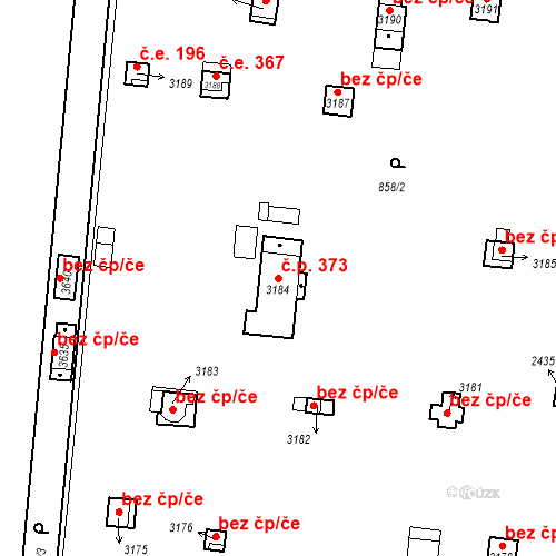 Katastrální mapa Stavební objekt Slaný 373, Slaný