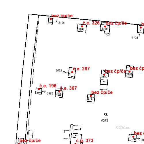 Katastrální mapa Stavební objekt Slaný 287, Slaný