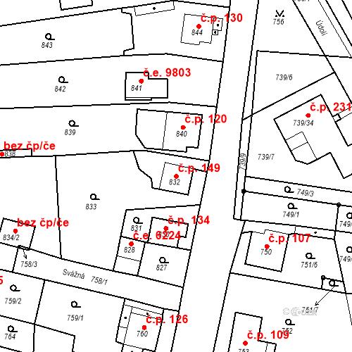 Katastrální mapa Stavební objekt Skorotice 149, Ústí nad Labem