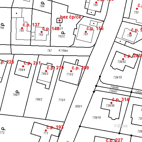 Katastrální mapa Stavební objekt Skorotice 209, Ústí nad Labem