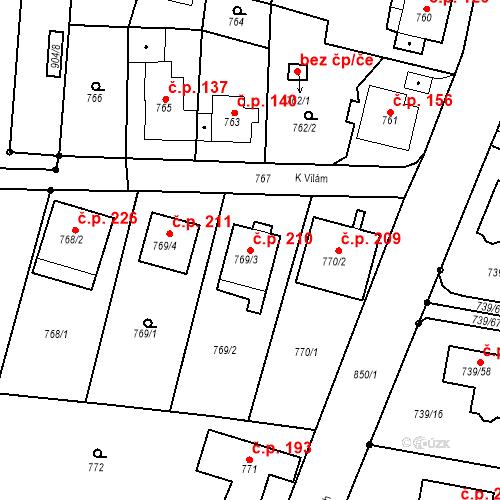Katastrální mapa Stavební objekt Skorotice 210, Ústí nad Labem